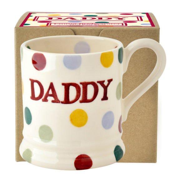 Emma Bridgewater Polka Dot Daddy Half Pint Mug Boxed