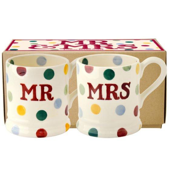 Emma Bridgewater Polka Dot Mr & Mrs Set of 2 Half Pint Mug