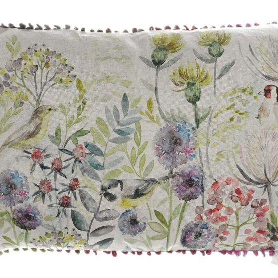 Morning Chorus Cushion backed with Arielli Oyster - Made in Scotland