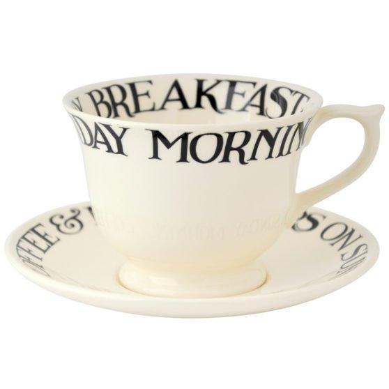 Emma Bridgewater Black Toast Large Teacup & Saucer