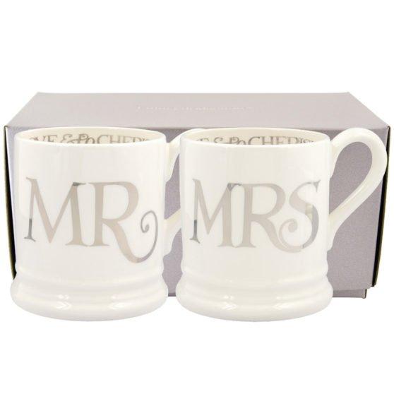 Silver Toast Mr & Mrs Set of 2 1/2 Pint Mugs