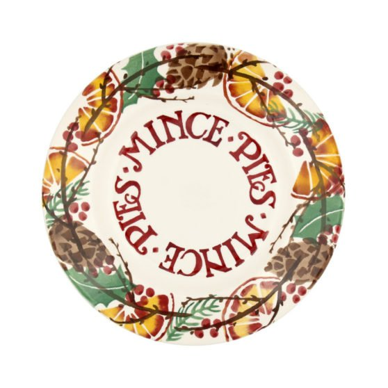 "Holly Wreath 8 1/2"" Mince Pies Plate"