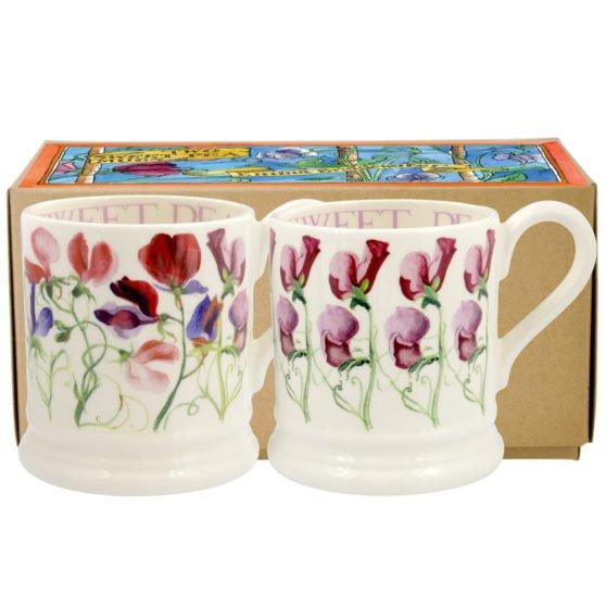 Emma Bridgewater Sweet Pea Flowers Set of 2 Half Pint Mugs