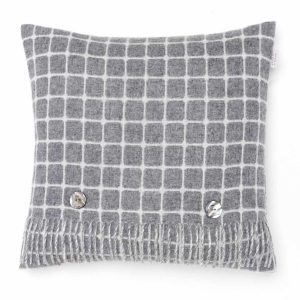 Athens Check Cushion - Grey - Bronte by Moon