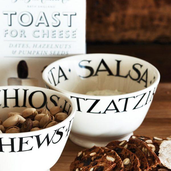 Black Toast Nuts Dips Old Bowl