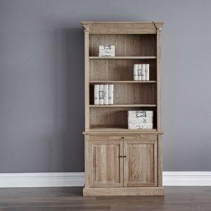 Gable Double Oak Bookcase
