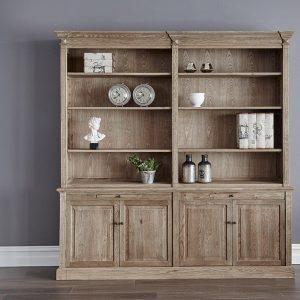 Gable Quad Oak Bookcase