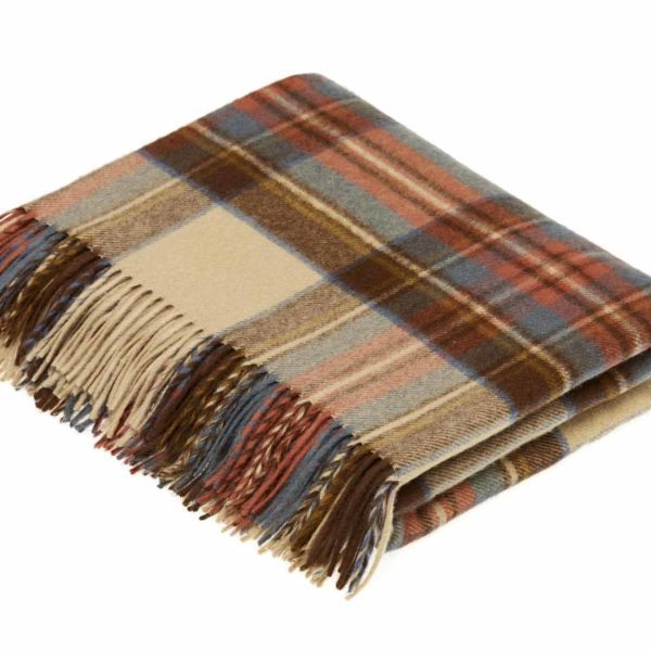 Lambswool Tartan Throw Camel Thompson