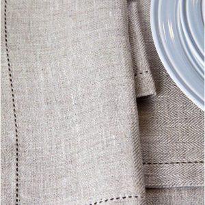 Classic Herringbone French Linen Napkins