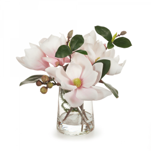 Artificial Flowers Magnolia Mix in Vase Cream Pink
