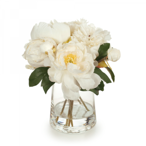 Artificial Flowers Peony Bouquet Mix in Vase (Cream)