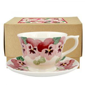 Emma Bridgewater Pink Pansy Large Teacup & Saucer