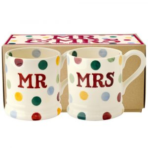 Emma Bridgewater Polka Dot Mr & Mrs Set of 2 Half Pint Mug