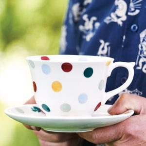 Polka Dot Teacup & Saucer