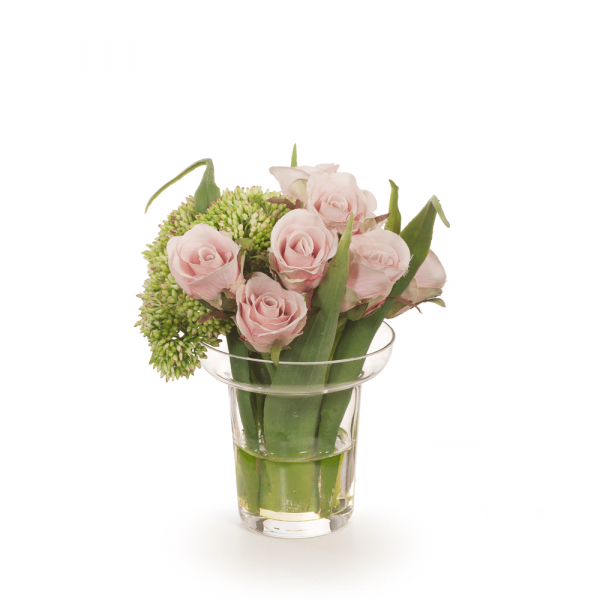 Artificial Flowers Rose Sedum in Vase (Dusty Pink)
