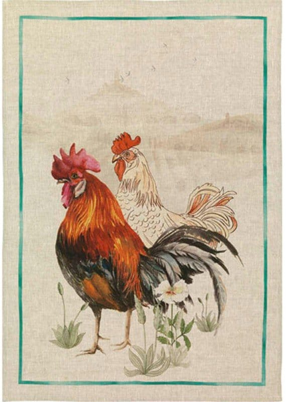 Tea Towel Rooster Green