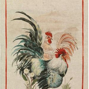 Tea Towel Rooster Red