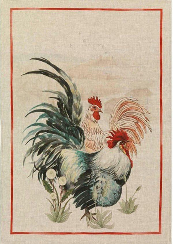 Tea Towel Rooster Red