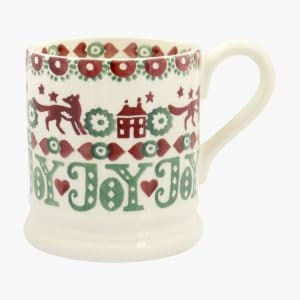 Emma Bridgewater Christmas Joy Red & Green 1/2 Pint Mug