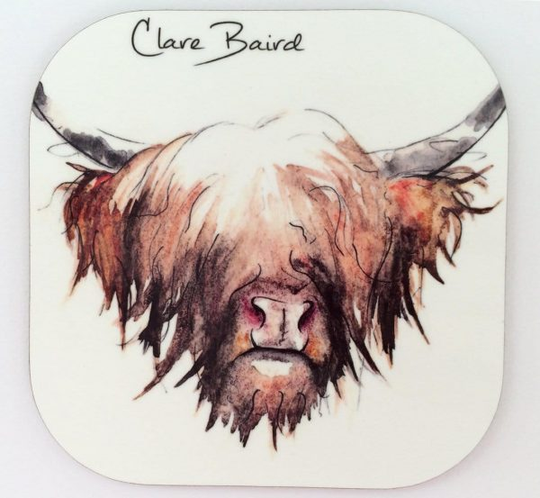 Highland Cow Coaster by Clare Baird
