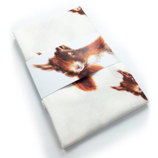 Red Squirrel Tea Towel by Clare Baird