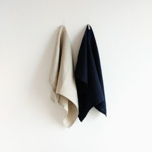 Irish Linen Tea Towel - Oatmeal Dark Navy