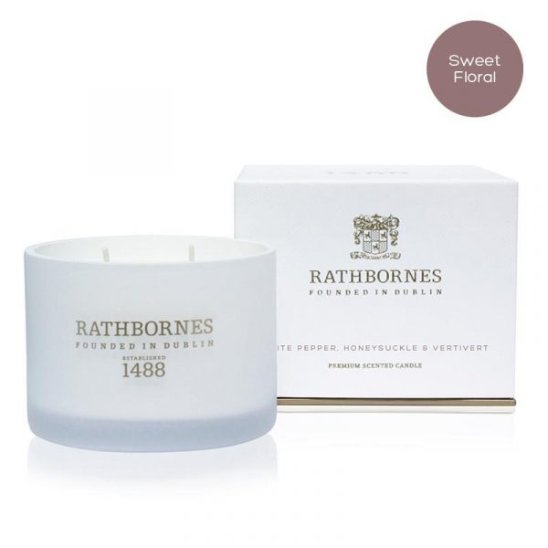 White Pepper, Honeysuckle & Vertivert Scented Classic Candle by Rathbornes