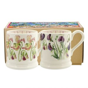 Emma Bridgewater Set of 2 Sweet Pea Flower 12 Pint Mugs Boxed