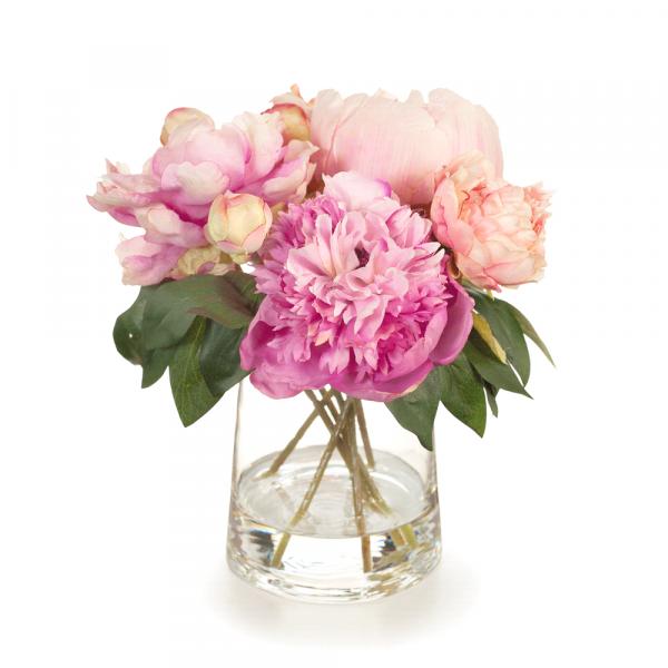 Peony Mix in Vase Pink 22cm