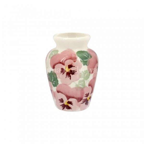 Emma Bridgewater Pink Pansy Row Mustard Vase