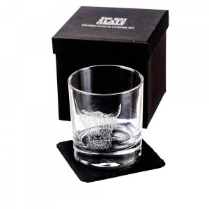 Just Slate - Highland Cow Engraved Glass Tumbler with Slate Coaster (Gift Box)