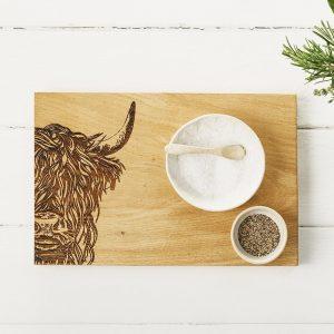 Highland Cow Serving Board - Scottish Oak