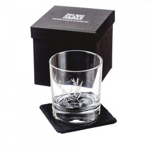 Just Slate - Stag Engraved Glass Tumbler with Slate Coaster (Gift Box)