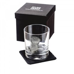 Just Slate - Thistle Engraved Glass Tumbler with Slate Coaster (Gift Box)