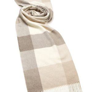 Alpaca Check Stole - Natural Camel - Bronte by Moon