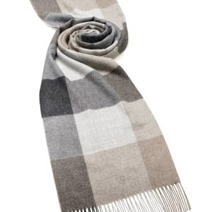 Alpaca Check Stole - Natural Grey - Bronte by Moon