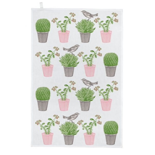 Cactus & Bird Tea Towel - Thornback & Peel