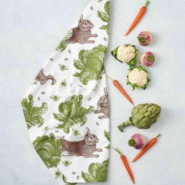 Classic Rabbit & Cabbage Tea Towel - Thornback & Peel
