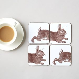 Thornback & Peel - Brown Rabbit Coasters (Set of Two)