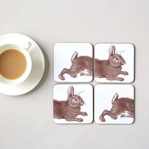 Thornback & Peel - Brown Rabbit Coasters (Set of Two)