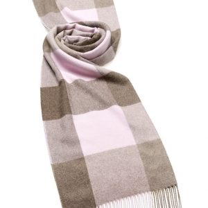 Alpaca Check Stole - Chocolate Pink - Bronte by Moon