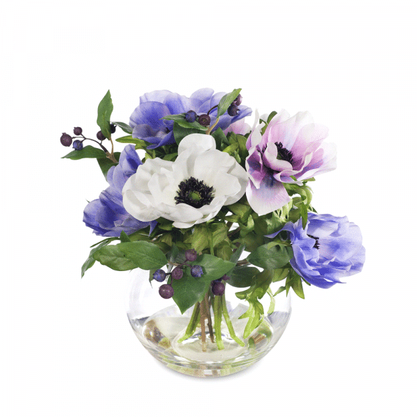 Anemone Berry Mix in Vase Lavender Blue