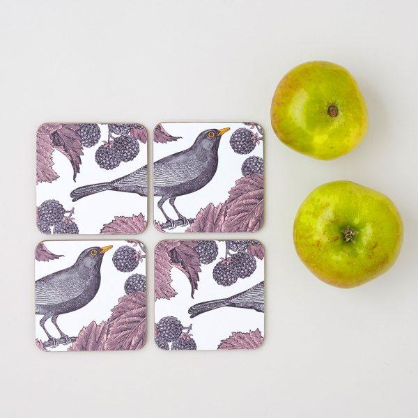 Thornback & Peel - Blackbird & Bramble Coaster (set of four)