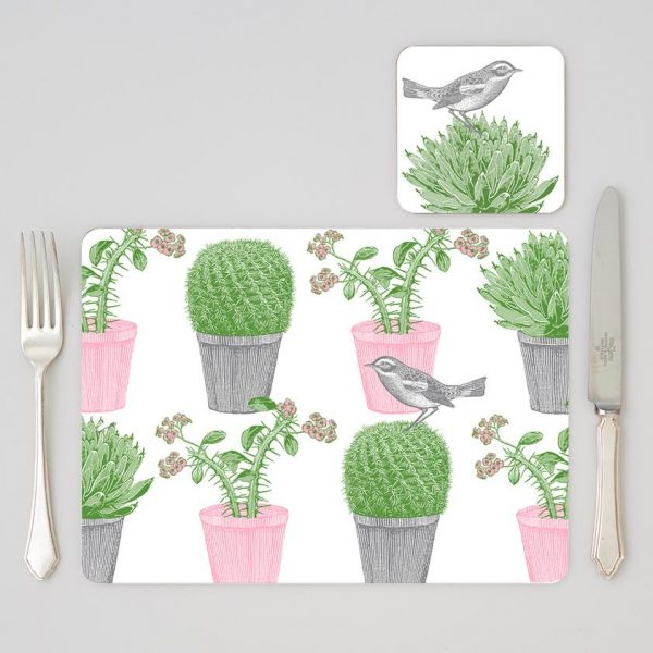 Thornback & Peel - Cactus & Bird Coaster (set of four)