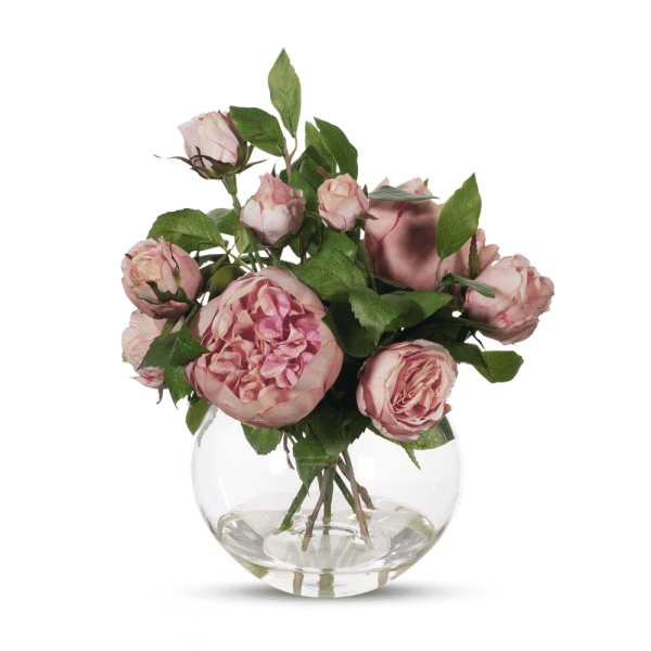 English Rose Mix in Vase (Dusty Pink)