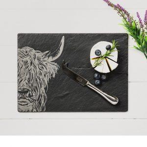 Just Slate - Highland Cow Slate Cheese Board & Knife Gift Set