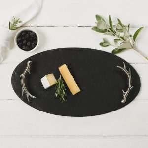 Just Slate - Slate Oval Serving Tray With Antler Handles