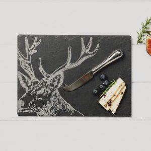 Just Slate - Stag Slate Cheese Board & Knife Gift Set