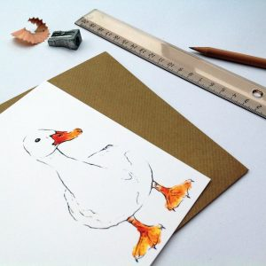 Watercolour Drake Card - Clare Baird