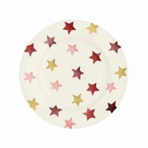 Pink & Gold Stars Eight And A Half Inch Plate